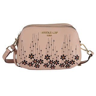 Nicole Lee Rosalie Peach Floral Emboidery Crossbody Handbag