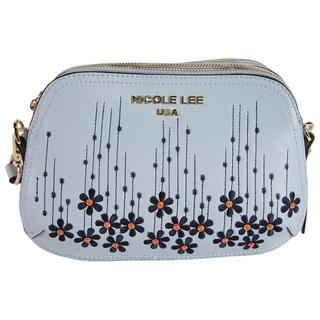 Nicole Lee Rosalie Blue Nylon/Faux Leather Floral Emboidery Crossbody Handbag