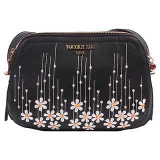 Nicole Lee Rosalie Black Faux-leather/Nylon Floral Emboidery Crossbody Handbag