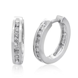 10k White Gold 1/3ct TDW Channel-set Diamond Hoop Earrings