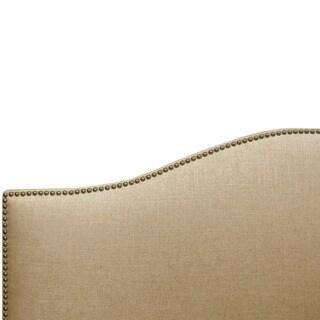 Skyline Furniture Linen Sandstone Nail Button Headboard