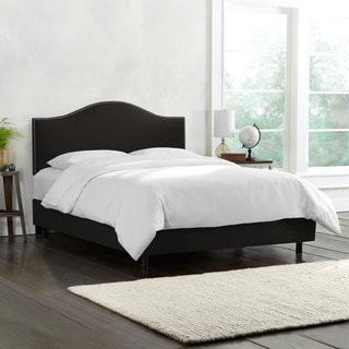 Skyline Furniture Linen Black Nail Button Bed