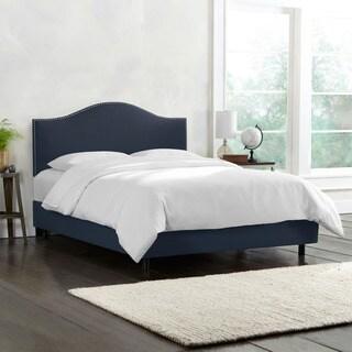 Skyline Furniture Linen Navy Nail Button Bed