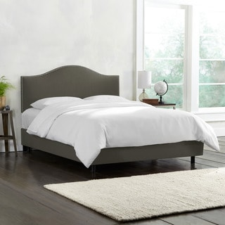 Skyline Furniture Linen Slate Nail Button Bed