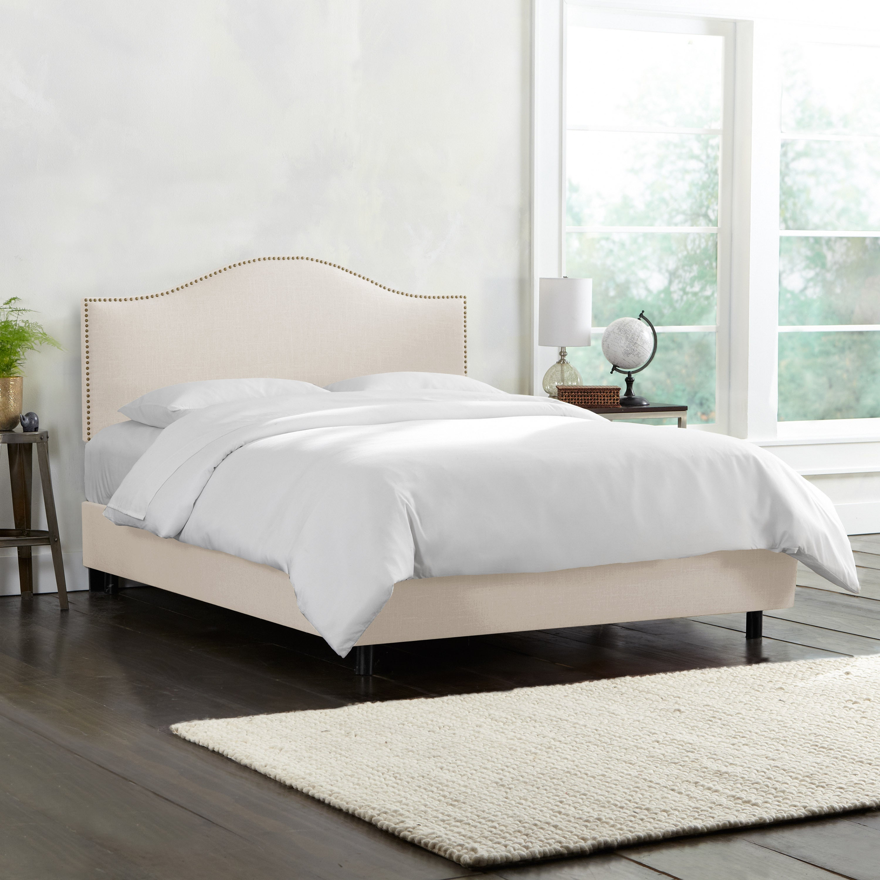 Skyline Linen Talc Nail Button Bed (King), Beige Off-White
