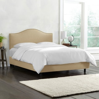 Skyline Furniture Linen Sandstone Nail Button Bed