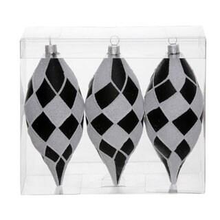 Black/White Plastic 4.7-inch Diamond Glitter Drop Ornaments (Pack of 3)
