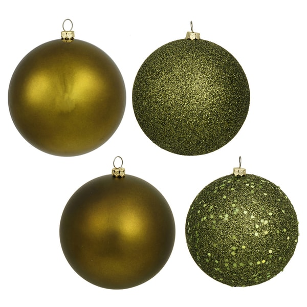 olive colored plastic 8 inch ball ornaments with assorted finishes