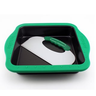 Perfect Slice Black Cake Pan with Tool and Silicone Sleeve Square