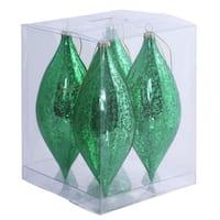 Green Plastic 7-inch Shiny Mercury Drop Ornament (Pack of 4)