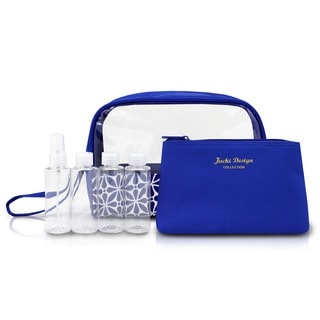 Jacki Design Contour 6-piece Cosmetic Toiletry Bag Set w/Travel Bottle Set