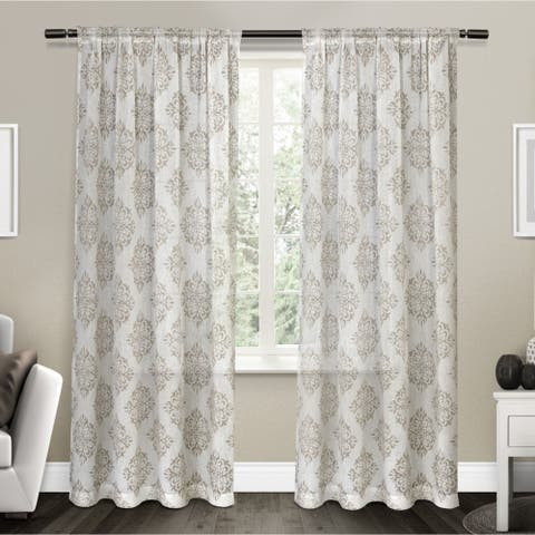 ATI Home Nagano Belgian Linen Sheer Rod Pocket Top Curtain Panel Pair