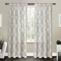 ATI Home Nagano Belgian Linen Sheer Rod Pocket Top Curtain Panel Pair