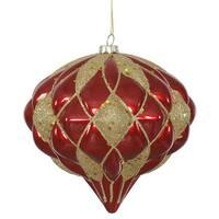 Red-Gold Matte-Glitter 5.7-inch Diamond Onion Ornament