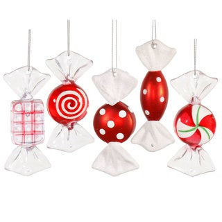 Red/White 3.5-inch Candy Ornaments in 5 Assorted Designs (Pack of 5)