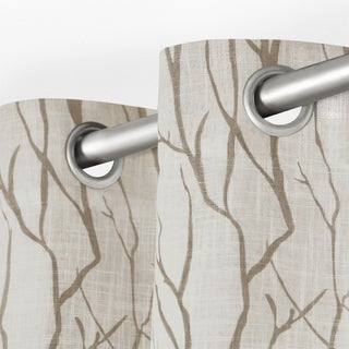 ATI Home Oakdale Textured Linen Motif Grommet Top Curtain Panel Pair