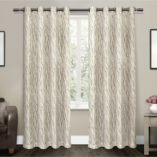Oakdale Textured Linen Motif Grommet Top Window Curtain Panel Pair