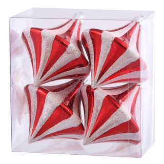 Red/White Plastic 3.5-inch Candy Cane Diamond Drop Ornament (Pack of 4)