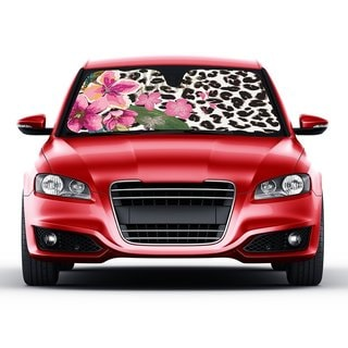 Pink Hibiscus Orchid/Leopard Folding Accordion Sunshade with Anti-glare