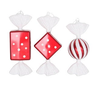 Red/White Plastic 8-inch Iridescent Glitter Candy Ornaments (Pack of 3)