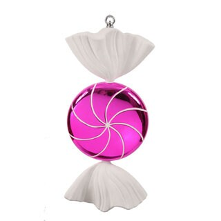 Pink White Swirl 18.5-inch Candy Ornament