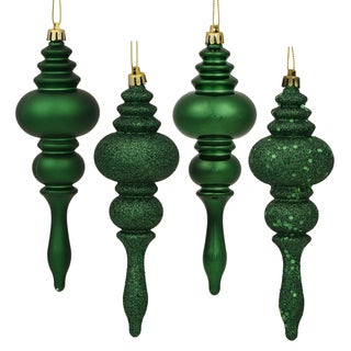 Emerald 7-inch 4 Finish Assorted Finial Ornaments (Pack of 8)