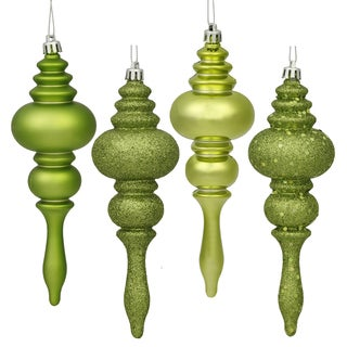 Lime Plastic 7-inch 4-finish Assorted Finial Ornaments (Pack of 8)