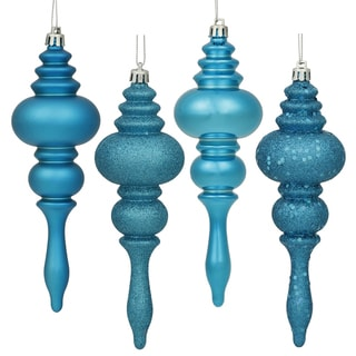Turquoise 4-finish 7-inch Assorted Finial Ornaments (Pack of 8)