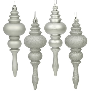 Silver 7-inch 4 Assorted Finish Finial Ornaments (Pack of 8)