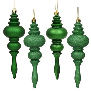 Green 4 Finish Assorted 7-inch Finial Ornaments (Pack of 8)