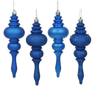 Blue Plastic 7-inch 4-finish Assorted Finial Ornaments (Pack of 8)