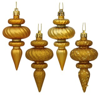 Antique Gold 4-inch 4 Assorted Finish Finial Ornaments (Pack of 8)
