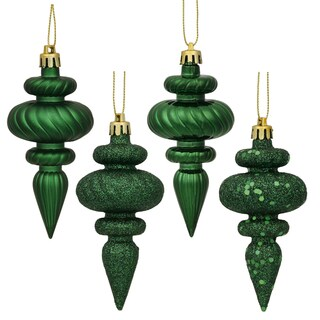 Emerald Plastic 4-inch 4-finish Assorted Finial Ornaments (Pack of 8)