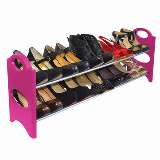 Pink Metal/Plastic 10-pair Shoe Rack