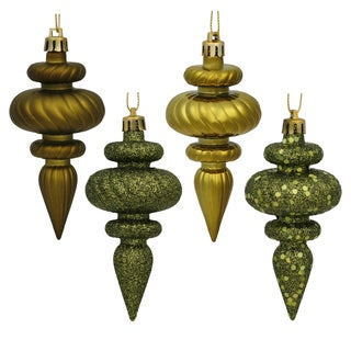 Olive Plastic 4-inch Assorted Finial Ornaments (Pack of 8)