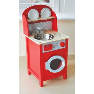 Unisex Indigo Jamm Red Wooden Mini Combination Washing Machine and Sink Toy