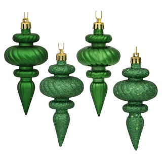 Green Plastic 4-inch Assorted Finial Ornaments (Pack of 8)