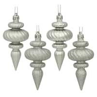 Silver Plastic 4-inch 4-finish Assorted Finial Ornaments (Pack of 8)
