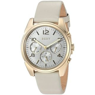 DKNY Women's NY2532 'Crosby' Multi-Function Grey Leather Watch
