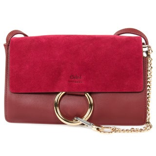 Chloe Faye Bag Burgundy Smooth/Suede Calfskin w/ Pale Gold Hardware Small