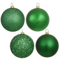 Green 4 Assorted-finished Plastic 2.4-inch Ball Ornaments (Case of 60)