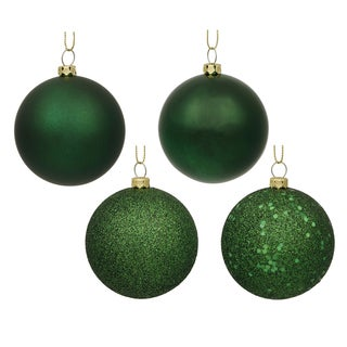 Emerald Green 1.6-inch 4-finish Assorted Ornaments (Pack of 96)