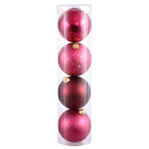 "96ct Red Raspberry Shatterproof 4-Finish Christmas Ball Ornaments 1.5"" (40mm)"