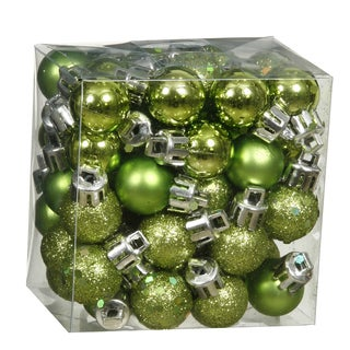 Lime-colored Plastic Assorted Christmas Tree Ornaments (Pack of 96)