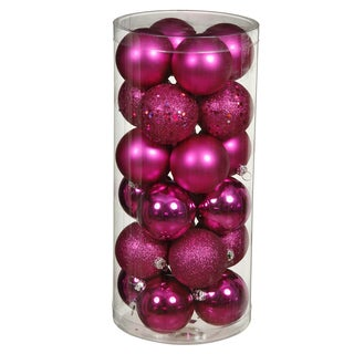 Magenta Plastic 1.6-inch Ball Ornaments with Assorted Finishes (Pack of 96)