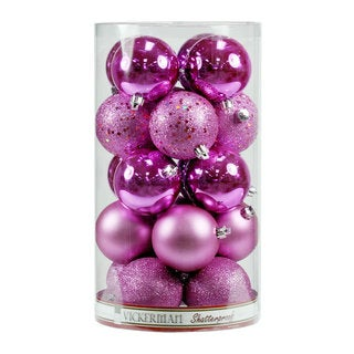 Pink Plastic 1.6-inch Assorted Ornaments (Pack of 96)