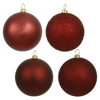 Burgundy Plastic 1.6-inch Assorted Ornaments (Case of 96)