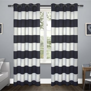 ati home kids rugby stripe sateen blackout grommet top curtain panel pair