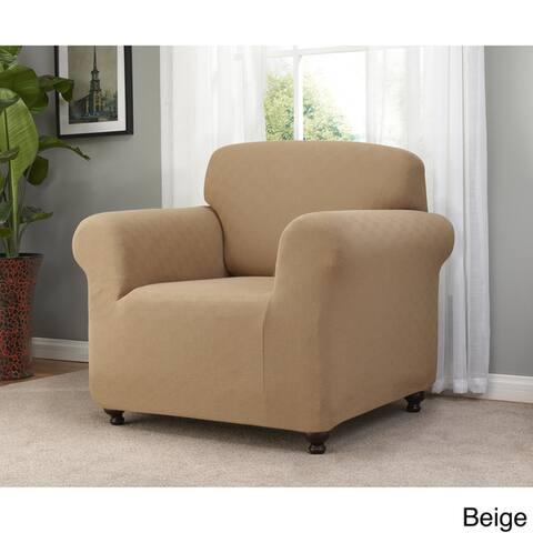 Sanctuary Solid-colored Checker Board Stretch Chair Slipcover