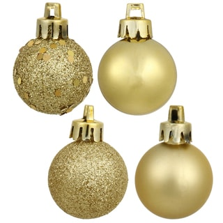 Gold Plastic Assorted Ornaments (Pack of 32)